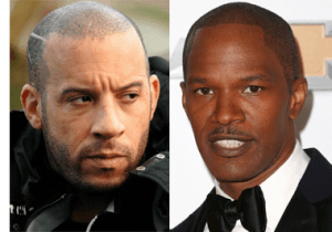 Vin Diesel and Jamie Foxx celebrities with scalp micropigmentation